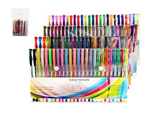【替芯付き】 ジェルインクボールペン カラーペン 塗り絵用 サウスサン 100色セット SSGPIN-100B