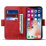 iPhone X ケース 手帳型 iPhoneX ケース ワイヤレス充電対応 Rssviss アイフォンX マグネット W3 レッド【5.8inch】
