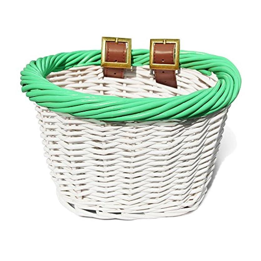 家庭教師挑発する効率的にColorbasket 01549 Kid's Front Handlebar Wicker Bike Basket, White with Green Trim by Colorbasket