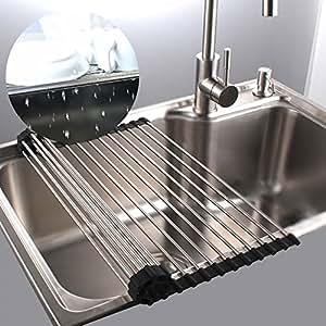 Amazon|折りたたみ 水切りラック 304 ステンレス製 滑り止め 台所 ...