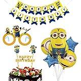 ミニオン 誕生日 飾り付け イエロー 可愛い キャラクター 子供 男の子 女の子 happy birthday バナー ガーランド バルーン 風船 ケーキトッパー メガネ 8枚セット