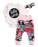 赤ちゃんの女の子男の子hello world模様ロンパース+パンツ+ヘッドバンド3枚衣装セット (12-18ケ月, 赤)