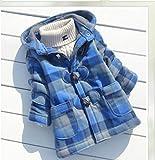 ダッフルコート フード付き 子供用 幼児用コート (130cm/XL, 水色)