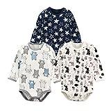 Baby Nest 長袖ボディースーツ 3枚セット 男の子 ベビー服 新生児 ロンパース コットン セット1 9-12M