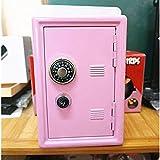 D DOLITY 18cm Table Metal Piggy Bank Safe Coin Money Saving Box Case Kids Gift Pink