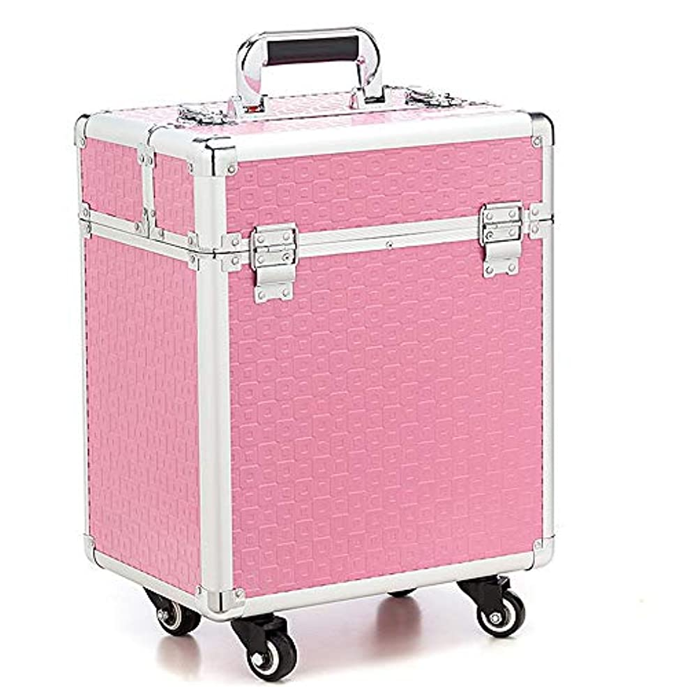 ブランド名第コーナー化粧オーガナイザーバッグ 360度ホイール3イン1プロフェッショナルアルミアーティストローリングトロリーメイクトレインケース化粧品オーガナイザー収納ボックス用ティーンガールズ女性アーティスト 化粧品ケース (色 : ピンク)