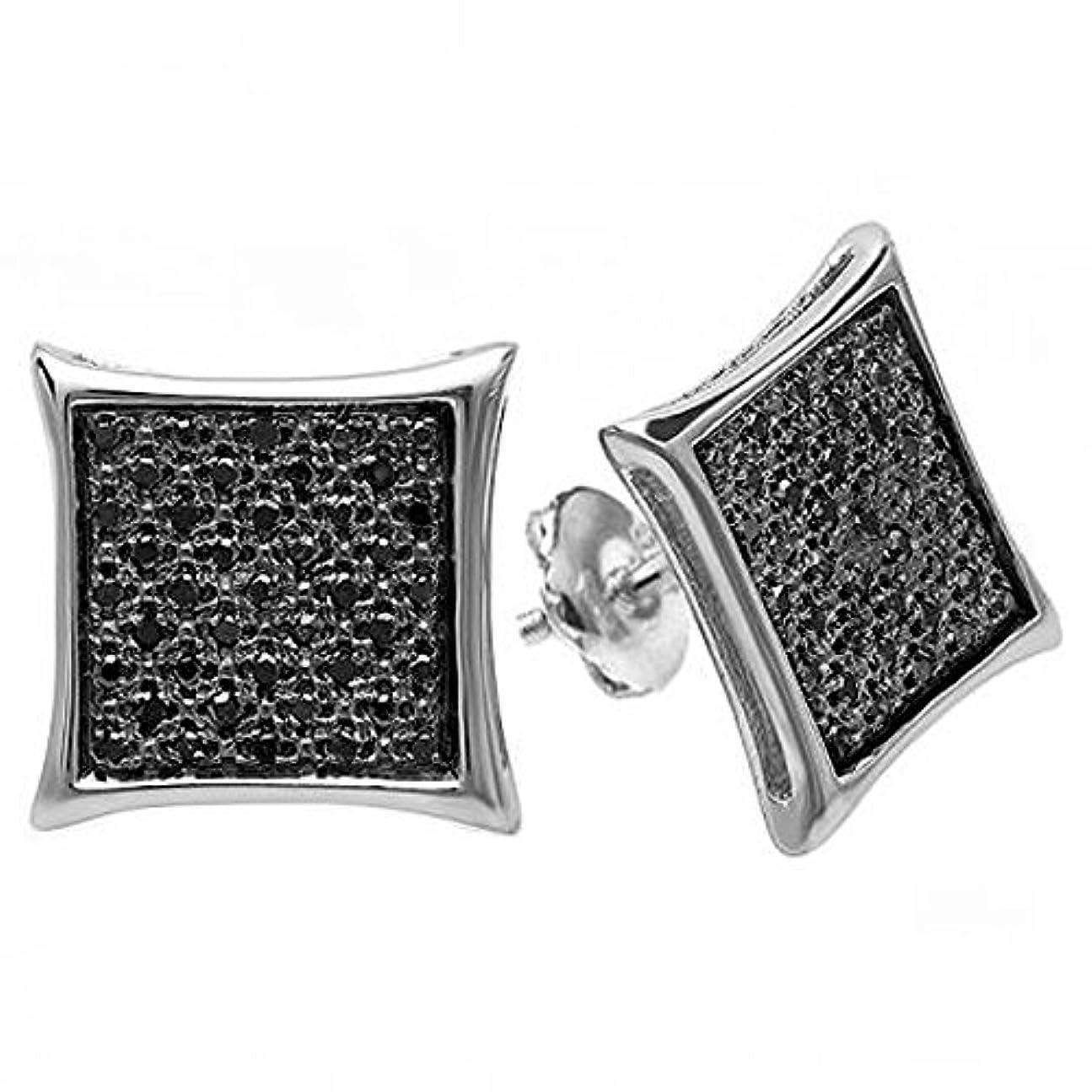 項目海それぞれ0.25カラットCTWRealブラックダイヤモンドKite形状メンズヒップホップIcedマイクロパヴェスタッドイヤリング1 / 4 ct