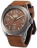 SHARK ARMY SAW186メンズ アナログ クオーツ 防水 日付表示 ブラウン レザーバンド腕時計