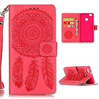Huawei P9 Lite / Huawei G9 Lite カバー ケース, Ougger(TM) カンパニュラ 衝撃を吸収 対応 保護 カードスロット 横開 手帳型 PU レザーカード 本革レザー ソフトTPUシリコンケーススタンド機能 (赤)