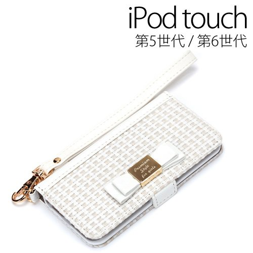 PGA iPod touch 第6/5世代 用 フリップカバー ダブルリボン ホワイト PG-IT6FP05WH