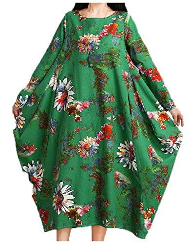 (ソーロ トゥ) SOLO TU ゆったり 花柄 長袖 ワンピース aライン オーバーサイズ おしゃれ アロハシャツ グリーン 緑 大人 婦人 レディース 韓国 ファッション トップス ハワイ リゾート ハワイアン (XL, グリーン)