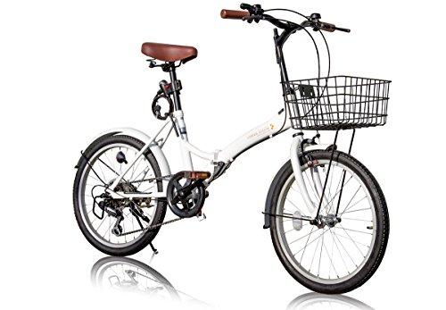 AIJYUCYCLE 折りたたみ自転車 20インチ P-008 カゴ・フロントLEDライト・ワイヤーロック錠付き シマノ6段変速ギア 折り畳み自転車 小径車 ミニベロ PL保険加入 (ホワイト)