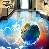 Ljjlm 壁紙ロマンチック空青空白雲夢地球バスルームリビングルーム3Dフロアカスタム大フレスコPvcフロアステッカー-160X120Cm