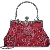Women's Handbag Vintage Rose Embroidered Beaded Sequin Evening Bag Wedding Party Clutch Purse