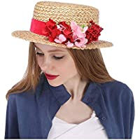 Flower Boater hat. Straw Sun hat with red Flowers Straw Boater hat Kentucky Derby hat, red Flower hat, Flower Races hat red, Floral Church Hats, Wide Brim hat 2018 New,