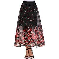 Maxi Pleated Floral Chiffon Skirt, Women's Long Boho Elastic High Waist Full Length Flowy Print Skirts for Girls