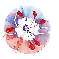 FLAMEER ヘアクリップ フェザーハット 礼帽 羽の帽 ダービー ヘッドバンド レディース 演出 舞台 パーティー - 赤+青