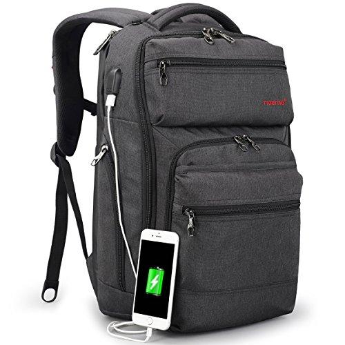 TIGERNU ノートパソコンリュックサック 15.6インチのPCに対応 耐衝撃 撥水 大容量 ビジネスバックパック USB充電可能 多機能 通勤 出張 通学 旅行 男女兼用 (ダークグレー)