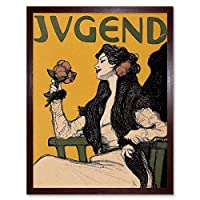 Advert Cultural Magazine Cover Jugend Rose Nouveau Art Print Framed Poster Wall Decor 12X16 Inch 広告文化的雑誌の表紙カバーローズヌーボーポスター壁デコ