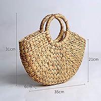 手作業 編む 半円包 草編み包 復古 簡素な約束 ハンドバッグ 文芸 装飾をする 収納袋