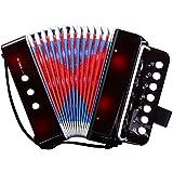 ミニ アコーディオン 7鍵 2ベース 楽器 音楽 玩具 初心者 大人も楽しむ