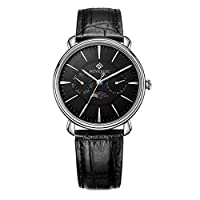 4191d6b818 腕時計 男性用 ファッション MOVEBEST カジュアル 黒い文字盤 ステンレス エレガントクラシック 時計 ブランド 人気 ブラック