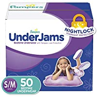 Pampers Underjams Bedtime Underwear Girls,Size Small/Medium Diapers, 50 Count by Pampers