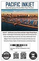 Pacific インクジェット - リネン テクスチャード サテン インクジェット プリンター 写真用紙 20枚 (8.5-x11インチ)