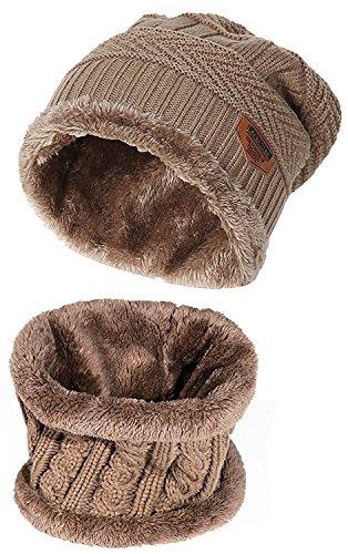 暖かい ニット帽子&ネックウォーマー キャップ セット ビーニーキャップ 防寒 保温 スキー スポーツ アウトドア 冬 内側に暖かい綿毛 (カーキ)
