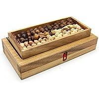 BRAIN GAMES 3in1 Wooden Chess, Backgammon Checker Set, Large [並行輸入品]