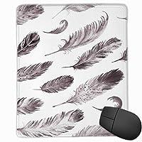 白黒羽のマウスパッドの非スリップのゴム製裏付け賭博のマウスパッドかわいい9.8 x 11.8インチ