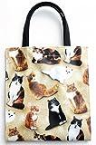 日本製 猫柄バッグ おすまし猫 ミニトートバッグ レディース 人気 ランチバッグ かわいい 猫 グッズ 雑貨 バッグ USAコットン