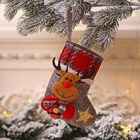クリスマスストッキング子供ギフトバッグサンタヘラジカ人形靴下子供キャンディアップルバッグクリスマスツリーのペンダントクリスマスパーティーホームデコレーション (Deer)