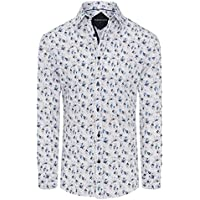 Tarocash Men's Harlem Stretch Floral Shirt Regular Fit Long Sleeve Sizes XS-5XL for Going Out Smart Occasionwear White
