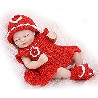 NPKDOLL 目でリボーンベビードールハードシミュレーションシリコーンビニール10インチの26センチメートル防水バース子供のおもちゃプレゼント赤いドレスの少女は休館します Reborn Baby Doll A1JP