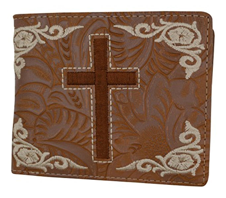 幸運なブラウスに賛成Men 's Western TanカウボーイクロスデザインクレジットカードIDホルダー二つ折り財布