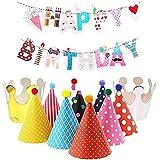 nanajingyi誕生日パーティー帽子誕生日装飾パーティー帽子パーティーデコレーションカラフルファンキーand Lovly Happy誕生日バナー