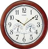 CITIZEN ( シチズン ) 電波 掛け時計 ネムリーナインフォートW 温度 ・ 湿度 計付 高輝度 蓄光 木 茶 8MY464-006