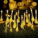 クリスマス ソーラー イルミネーション ストレート 水滴タイプ 30球 LEDイルミネーション ソーラー 屋外用 クリスマス 装飾ライトストリング 防犯 光センサー内蔵 自動 ON / OFF zk1052 (電球色)