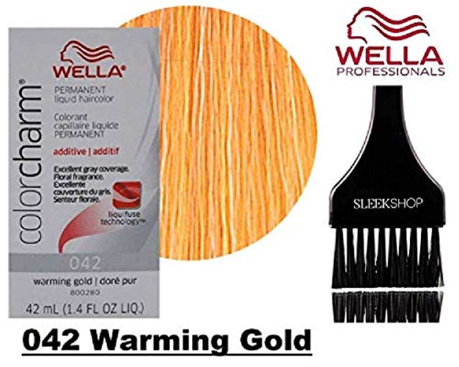 ナインへ鉄道駅生産性Coty Wella ウエラカラーチャームパーマネントリキッドヘアカラー(なめらかな色合いブラシ)優れたグレーカバレッジ、花の香り、1:2の混合比ヘアカラー色素 042温暖化ゴールド。