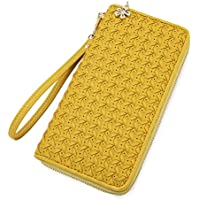 Women Zipper Wallet Hand Woven Ladies Clutch wristlet long purse with Wrist Strap for cards cash phone coins