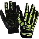 SHENKEL スケルトン グローブ 骨 スカル ボーン 長指 手袋 メンズ レディース フルフィンガー Lサイズ (黒+グリーン) サバゲー サバイバルゲーム
