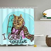 冬の猫が大好きシャワーカーテン 165*180cm 浴室 窓 お風呂 ポリエステル おしゃれ 撥水加工 リング付 お手入れ 取付簡単