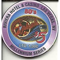 $ 5 Riviera Rare VintageラスベガスMillenniumチップ