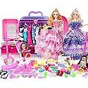 合計123pcs - 洋服パーティーガウンの衣装 人形のアクセサリー靴バッグネックレスミラーハンガー食器 - 人形のドレスアップ ウェディングドール 女の子 家 夢 ワードローブ ギフトボックスセット 12個の関節 子供用ギフト(4人形を含む) ( Color : C 123 pieces )