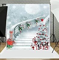 GLERGT 5x7フィート クリスマス 写真撮影 背景幕 薄型 ビニール 子供 ベビー 雪 写真 スタジオ撮影用 2-027