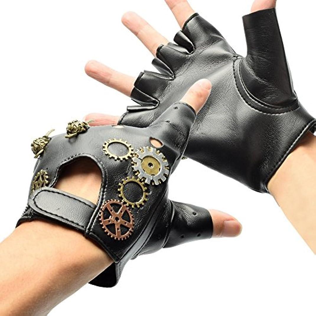 意志に反するチャンピオンシップ海洋のBLESSUME 指切りレザーロック手袋 本革 指なし 指ぬき フィンガーレス グローブ 手袋