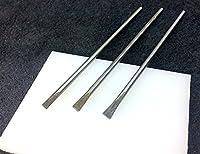 1385■ クラフト工具 一字 ポンチ 3,4,5mm 各1本+プラスチック板 4点セット マグネットホック、ヒネリ式錠 など 差し込みタイプ金具お取り付けに 丈10cm