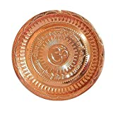Handmade Hindu Copper Pooja Aarti Thali Karwa Chauth/Karva Chauth Decorative Puja Thali Platter with Om Symbol and Gayatri Ma
