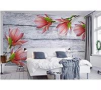 Weaeo 3D壁紙の壁をカスタマイズするグレーの木の穀物マグノリアの花は、デスクトップの壁紙の壁紙を行う-120X100Cm